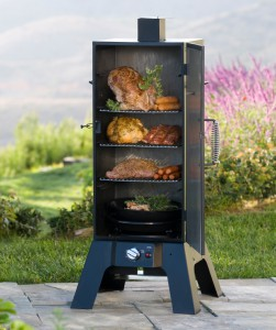 meat smoker on a patio